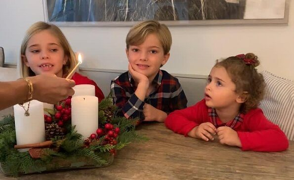 Princess Madeleine, Christopher O'Neill, Princess Leonore, Princess Adrienne and Prince Nicolas. Princess Adrienne wore a red sweater and shirt