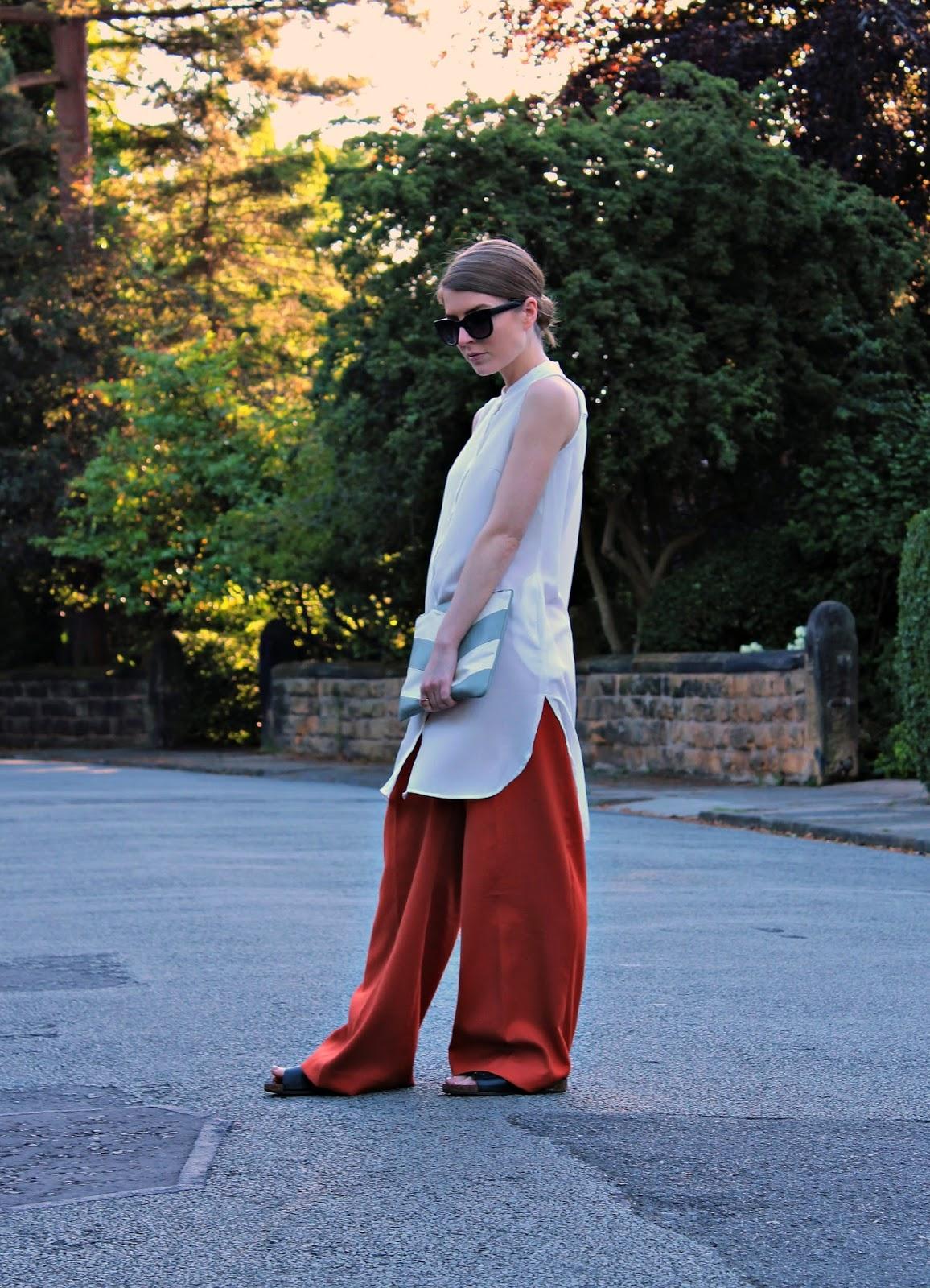 42439e8de1f Outfit  White Tunic over Wide Leg Trousers. Sunglasses  ASOS