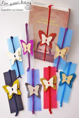 segnalibro inciso elastico chiudilibro ciondolo farfalla