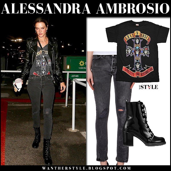 Alessandra Ambrosio in black Guns N' Roses tee, black jeans and black ankle boots stuart weitzman the climbing street fashion november 29
