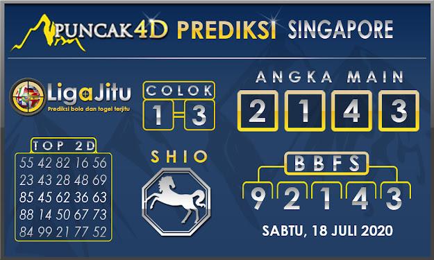 PREDIKSI TOGEL SINGAPORE PUNCAK4D 18 JULI 2020