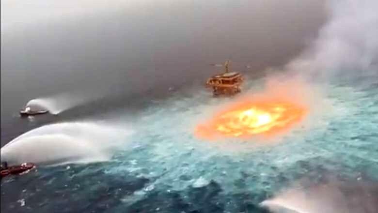 Vazamento em oleoduto provoca incêndio no mar no Golfo do México