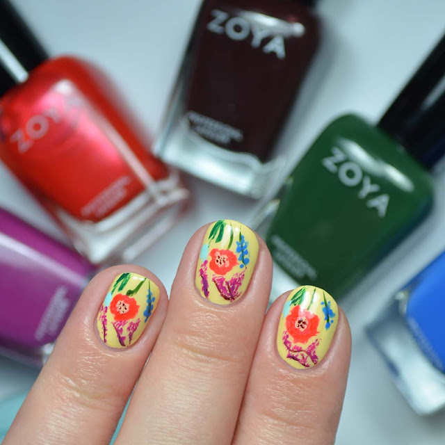 summer flower nail art