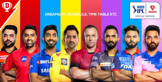 Dream11 IPL 2020 Schedule, Team, Venue, Time Table, PDF, Point Table, Ranking