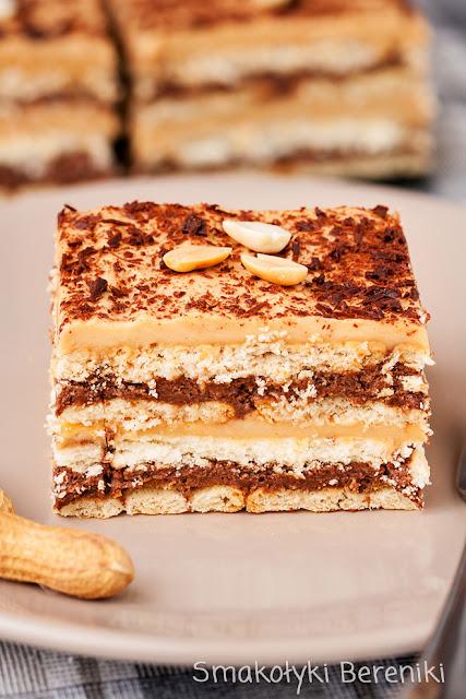 Ciasto bez pieczenia z kremem czekoladowym i orzechowym