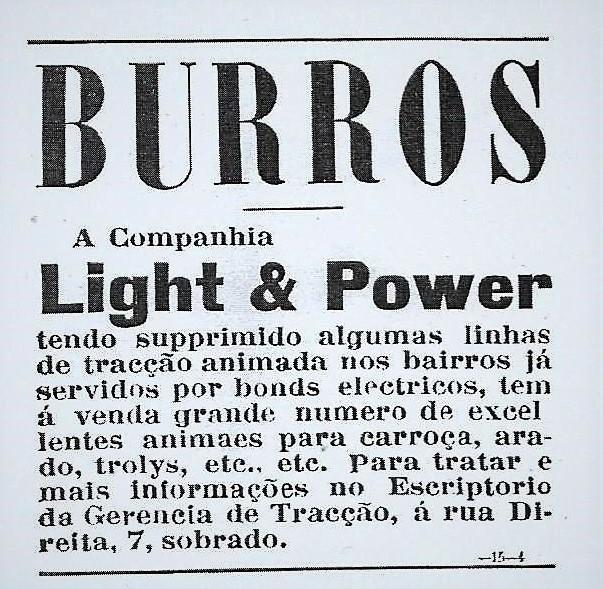 Propaganda de 1901 onde burros eram colocados à venda por uma companhia de transporte