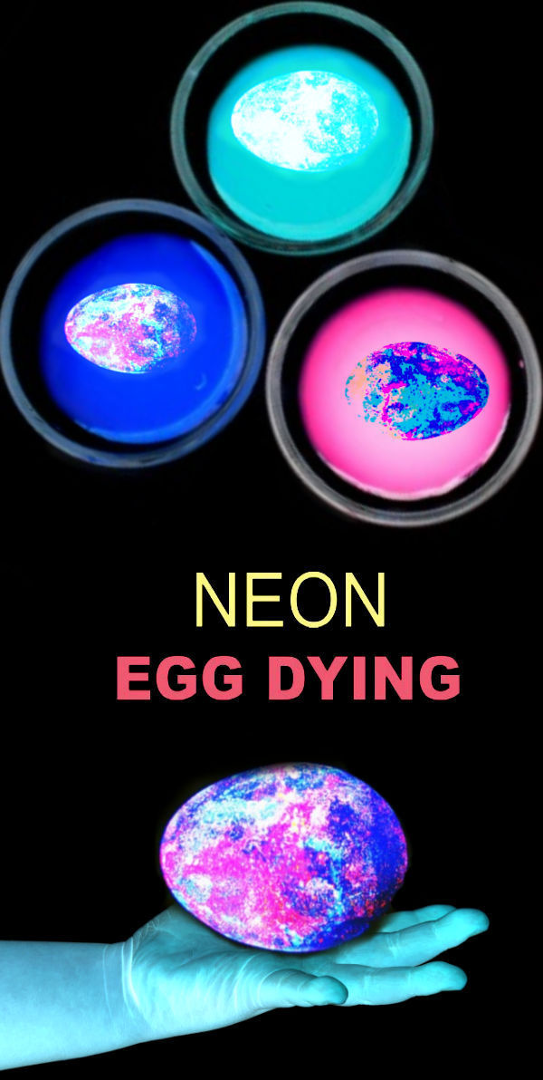 Make glow-in-the-dark Easter eggs using this easy neon dye recipe.  This Easter egg dye idea will wow kids of all ages, even the adults! #eggdye #eggdying #eastereggdyeideas #glowinthedarkeastereggs #glowinthedarkeaster #neoneastereggs #neoneggcoloring #neoneggdye #gloweggs