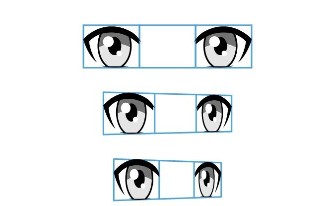 Mata anime dari sudut yang berbeda