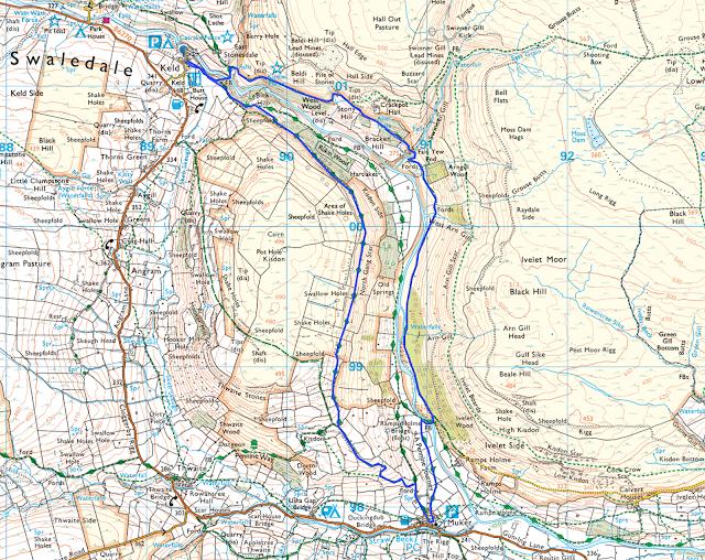 Muker Keld walk map route Yorkshire dales
