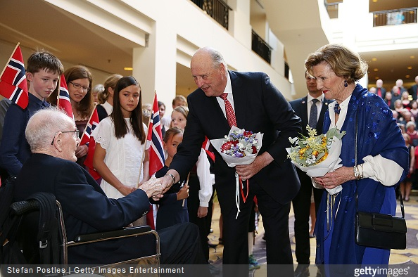 King Harald of Norway and Queen Sonja of Norway attends a Norwegian Community Reception at the Hyatt Hotel on February 22, 2015 in Canberra, Australia.