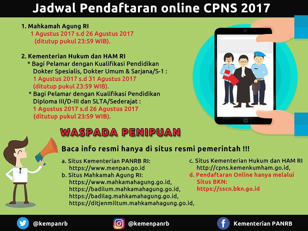 Jadwal Pendaftaran Online Calon Pegawai Negeri Sipil (CPNS) 2017