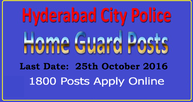 Hyderabad City Police Recruitment 2016 Notification released for 1800 Home Guard Posts 2017. Apply online for Hyderabad City Police Jobs. Hyderabad City Police Recruitment 2016: Hyderabad City Police Department recently depicted a employment notification of Hyderabad City vacancy 2016 to hire the applicants on the posts of Home guard jobs . According to the Hyderabad City jobs 2016 is conducted to fill up 1800 vacant posts in the department. The eligible & interested contestants can apply through the Hyderabad police website./2016/10/hyderabad-city-police-recruitment-2016-1800-home-guards-apply-online.html