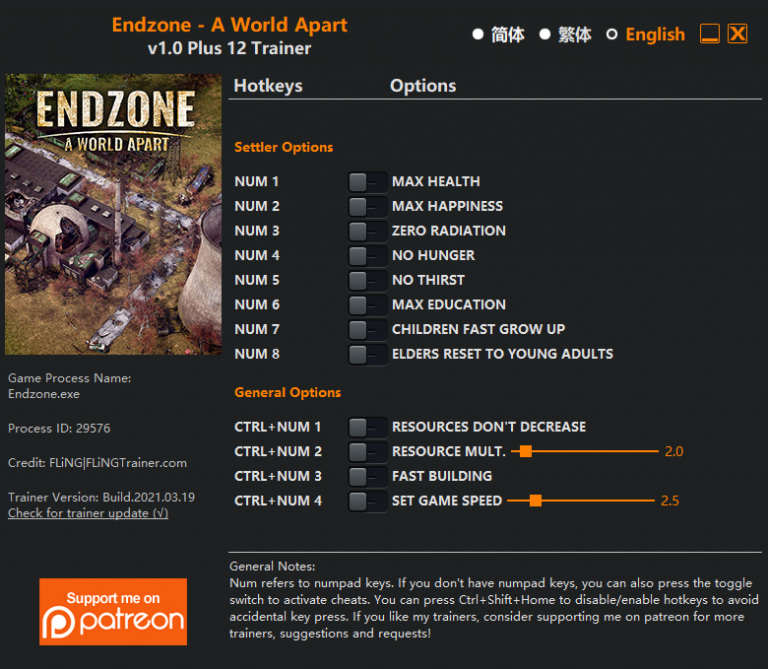 Endzone - A World Apart: Trainer (+12) [1.0]