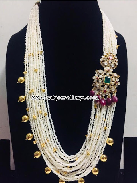 Pearls Haram with Pachi work Side Motif