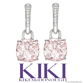 Kate Middleton Kiki McDonough morganite and diamond cushion drop earrings