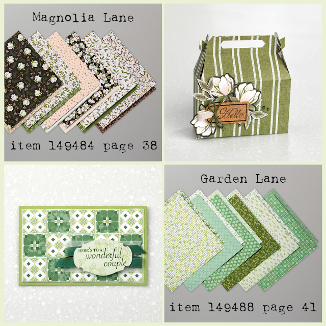 Magnolia Lane and Garden Lane Designer Series Paper and project samples - shop with Nicole Steele, The Joyful Stamper!