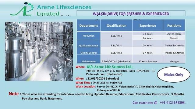 Arena Lifesciences Ltd. Walk in Drive- Production/ QC/ QA/ Maintenance on 21st March 2020 @ Hyderabad