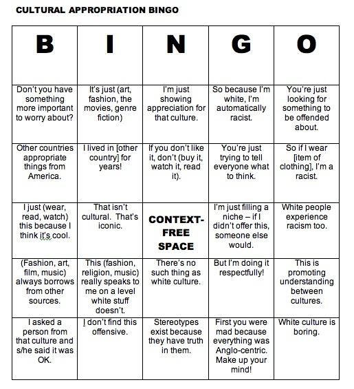 Cultural Appropriation Bingo: proving your comments are