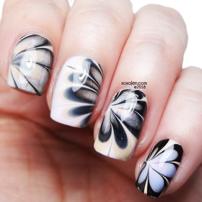 xoxoJen's swatch of 1850 Artisan watermarble nail art