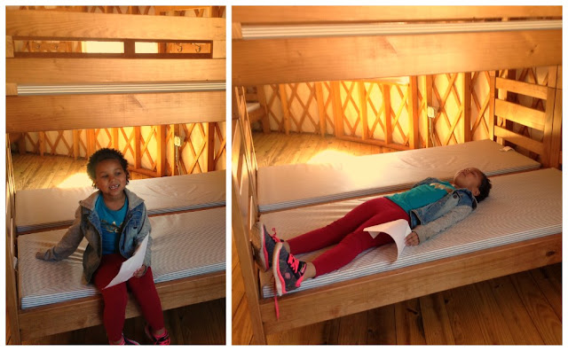 Bunk beds in the Yurt at @GSNEO Camp Timberlane
