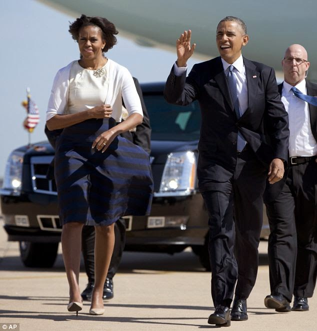 Pics: Pres. Obama stops Michelle's skirt from blowing up ...