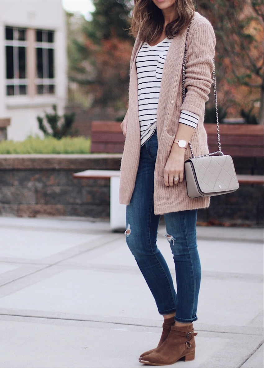 Travel Essentials Light Layered Outfits Striped Shirt Skinnies Ankle Boots Watch Purse