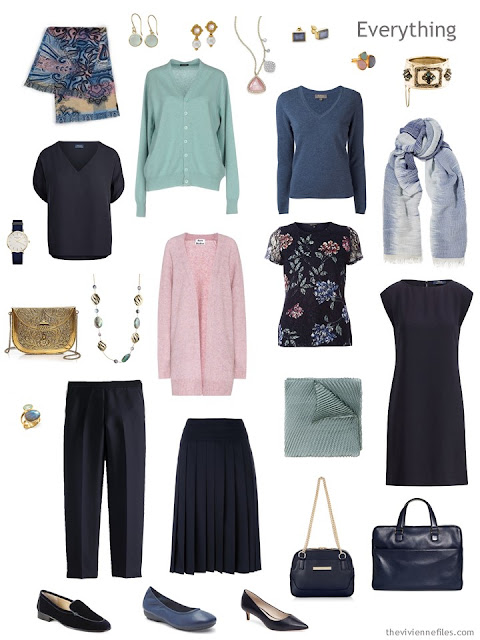 8-piece travel capsule wardrobe in navy, aqua chalcedony and labradorite blue