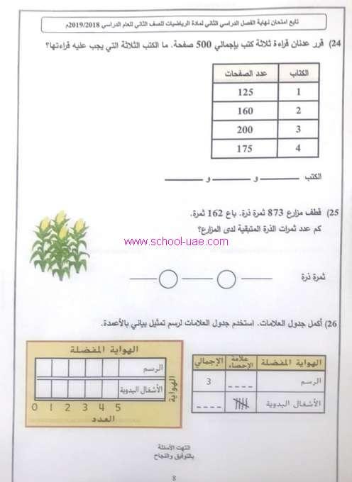 الامتحان الوزارى رياضات للصف الثاني نهاية الفصل الثانى 2019 مناهج الامارات