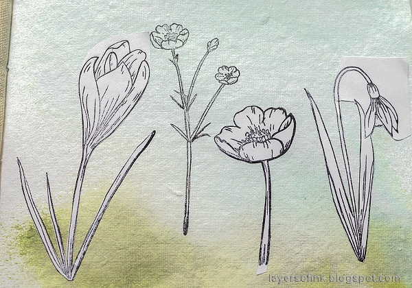 Layers of ink - Thoughtful Flowers Watercolor Garden Tutorial by Anna-Karin Evaldsson. Mask the flowers.