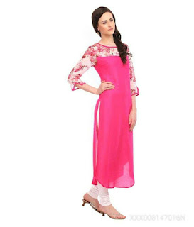 THE BEBO PINK CREPE KURTI (PINK FLOWER)