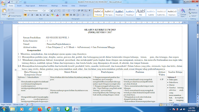 Contoh Format Silabus PJOK K13 Kelas 5 SD Semester 2 Revisi Terbaru