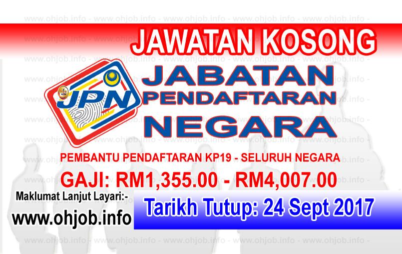 Jawatan Kerja Kosong JPN - Jabatan Pendaftaran Negara logo www.ohjob.info september 2017