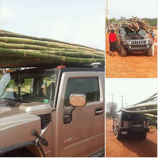 Man Uses Hummer Jeep To Transport Bamboo Sticks From Market In The East (Photos)