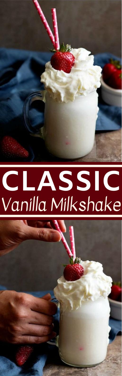 Classic Vanilla Milkshake #drink #recipes #snacks #kidfriendly #milk