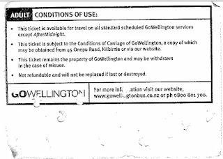 Wellington '10 trip' paper bus ticket (back)