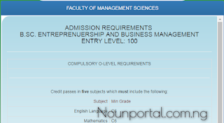 NOUN Admission Requirements - B.Sc. Entrepreneurship and Business Management