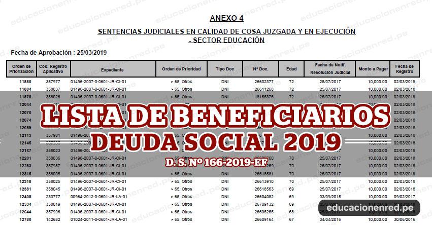 MINEDU: Lista de Beneficiados con el pago de la deuda social 2019 (D. S. Nº 166-2019-EF) www.minedu.gob.pe