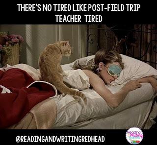 Tired teacher taking a nap after a field trip