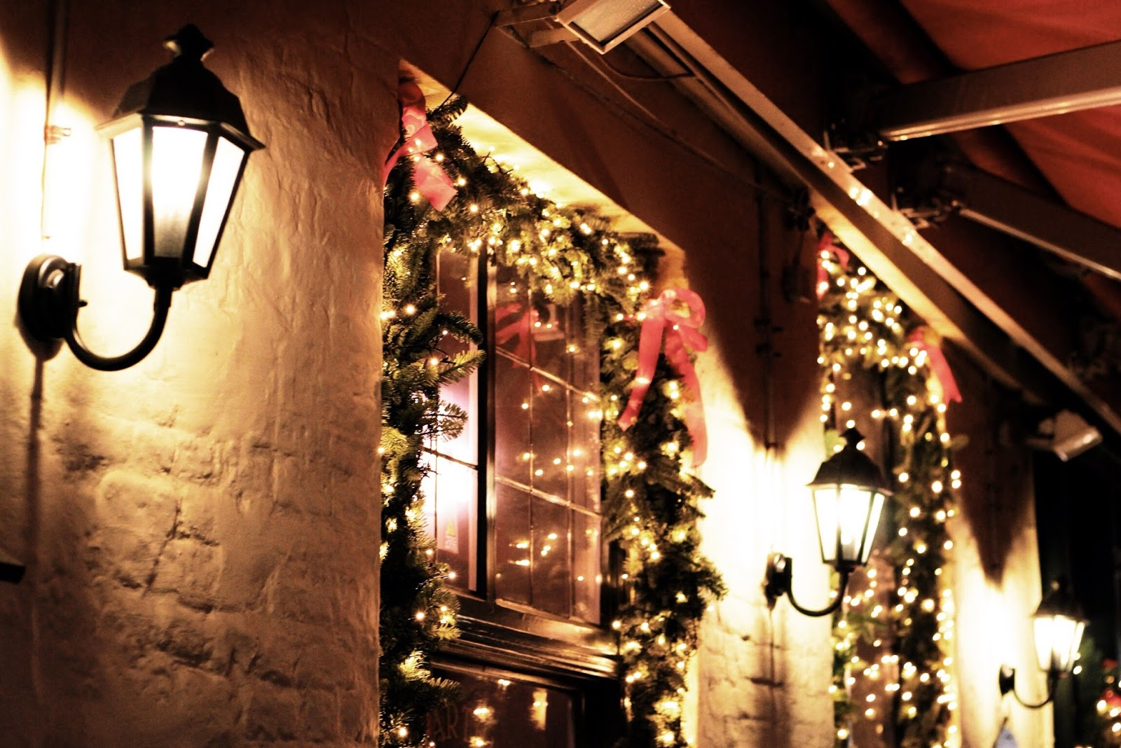 Romantic Christmas decorations in Bruges around windows