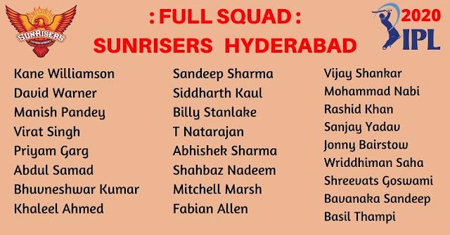 IPL 2020 SRH Team Squad