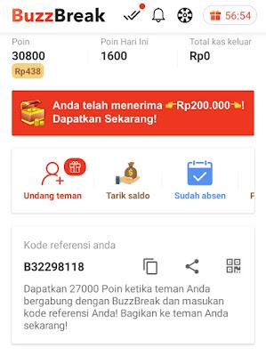 BuzzBreak Membaca dan Menonton Video di Bayar Paid Aplikasi  - Gabung dengan saya dengan menggunakan link Rujukan