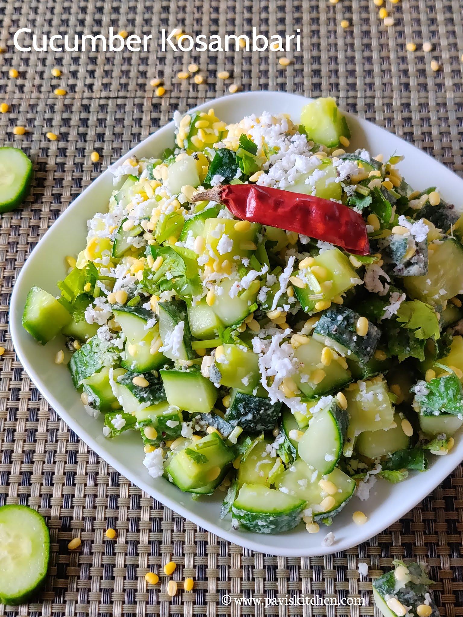Cucumber Moong Dal Salad | Southekayi Kosambari | Vellarikka Kosumalli