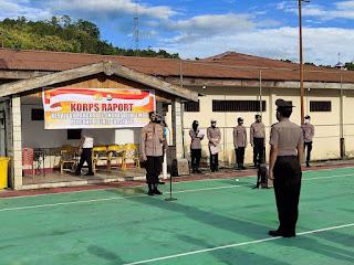 Upacara Korps Raport Kenaikan Pangkat Pengabdian di Pimpin Kapolres Enrekang