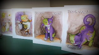 Cats and Robots collection - Greeting Cards by Elizabeth Casua, tHE 33ZTH oRDER