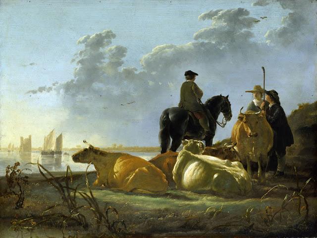 Альберт Кёйп - Пейзаж со стадом, всадником и пастухами. 1655-60