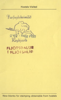 Stamped Youth Hostel card, Iceland, 1977