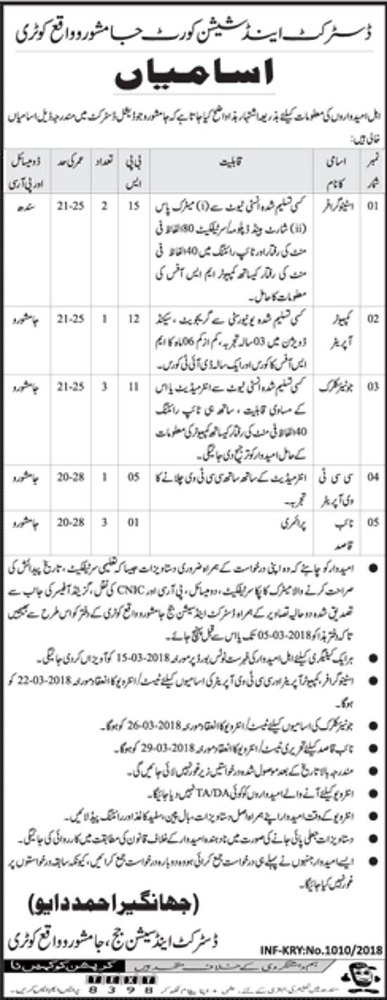 Jobs In Jamshoro District And Session Judge 2018