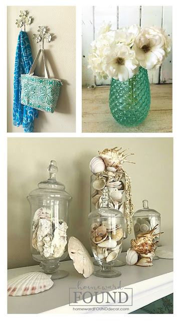 art, beach style, coastal style, color, color palettes, DIY, diy decorating, fast cheap and easy, makeover, painting, room makeovers, seashells, spring, summer, wall art, weekend makeover, restyled room, home decor, beachy decor