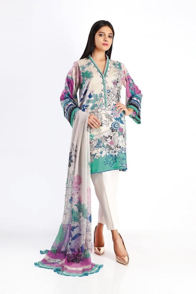 khaadi white lawn printed shirt dupatta