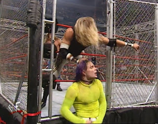 WWE / WWF Unforgiven 2000 - Christian slams the cage door on Jeff Hardy